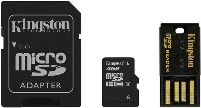 Карта памяти Kingston microSDHC 4Gb class 4 + SD adapter + USB reader - Фото 1