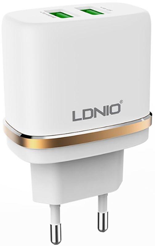 Купить Зарядные устройства, LDNIO DL-AC52 Travel charger 2USB 2.4A + Lightning cable White