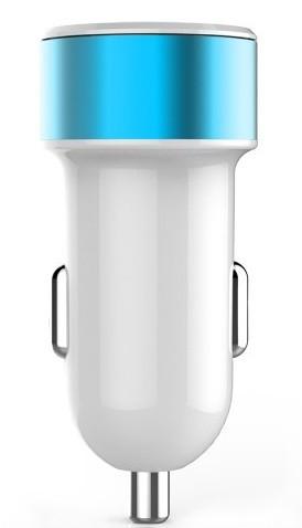 Автомобильное зарядное устройство TOTO TZR-05 Led Car charger 2USB 3,1A White/Blue - Фото 1