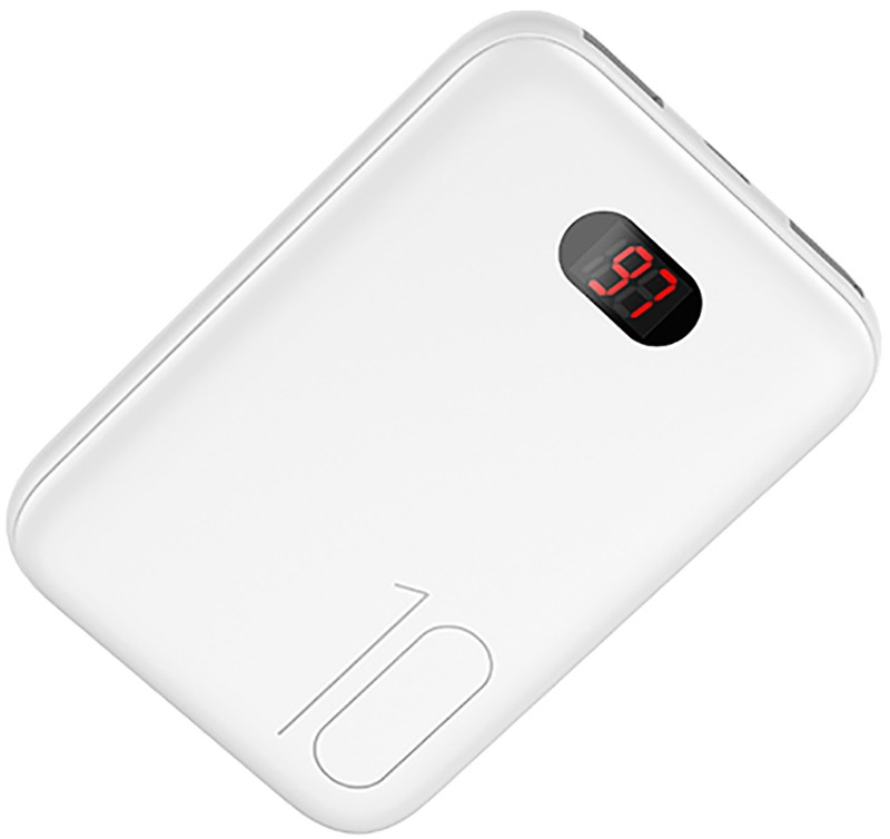 Купить Портативные батареи, Usams US-CD66 Dual USB Mini Digital Power Bank 10000mAh White