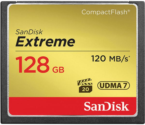 SanDisk CompactFlash Extreme R120/W85MB/s 128GB
