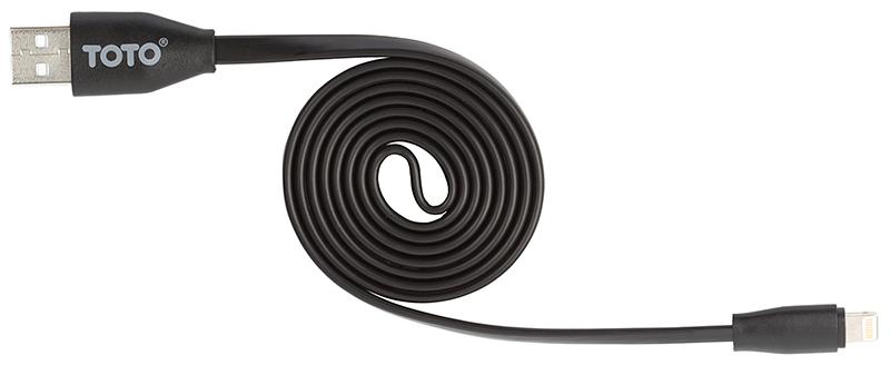 Кабель TOTO TKG-13 Flat USB cable Lightning 1m Black - Фото 1