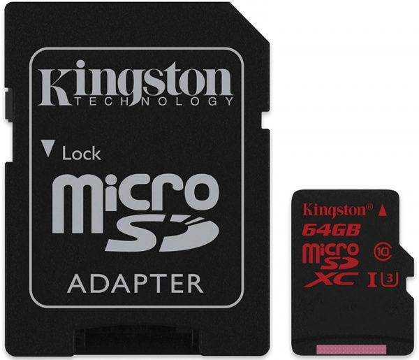 Kingston microSDHC/SDXC UHS-I U3 90R/80W SD адаптер 64Gb