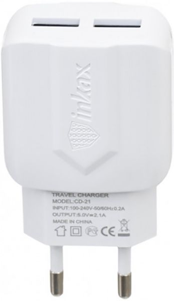 INKAX CD-21 Travel charger + Micro cable 2USB 2.1A White - фото
