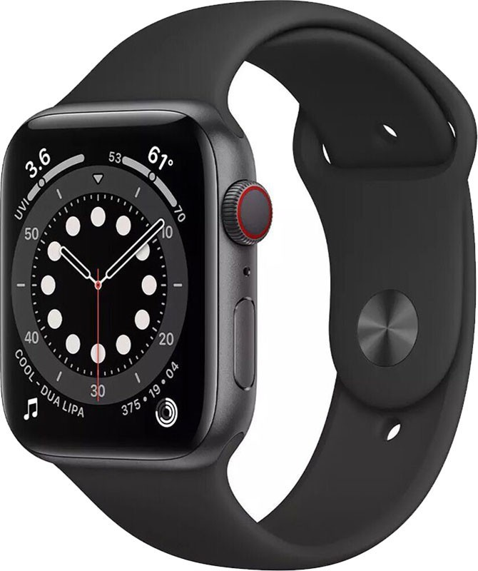 Apple Watch Series 6 GPS + Cellular 44mm Space Gray Aluminum Case w. Black Sport Band (M07H3/MG2E3)