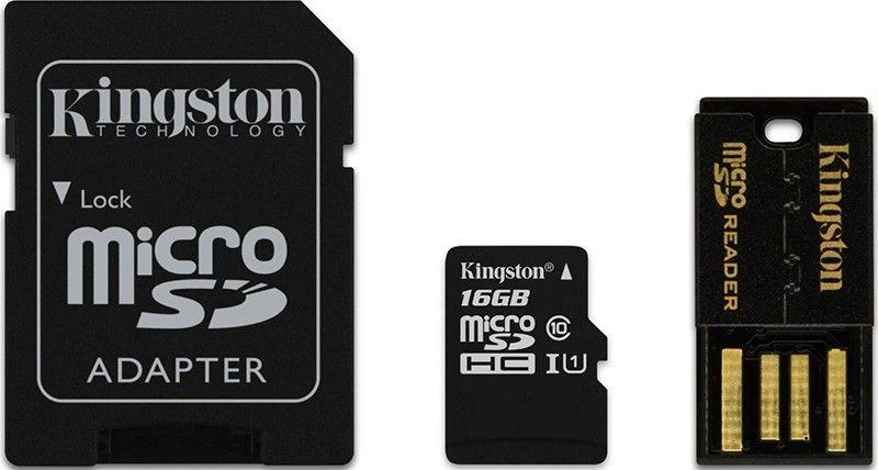 Карта памяти Kingston microSDHC 16Gb class 4 +SD adapter + USB reader - Фото 1