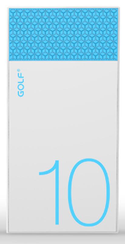 Портативная батарея GOLF Power Bank 10000 mAh Hive10 3.1A Li-pol White+blue - Фото 1