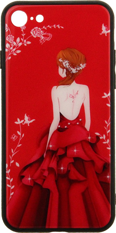 TOTO Glass Fashionable Case Apple iPhone 7/8/SE 2020 Red Dress Girl