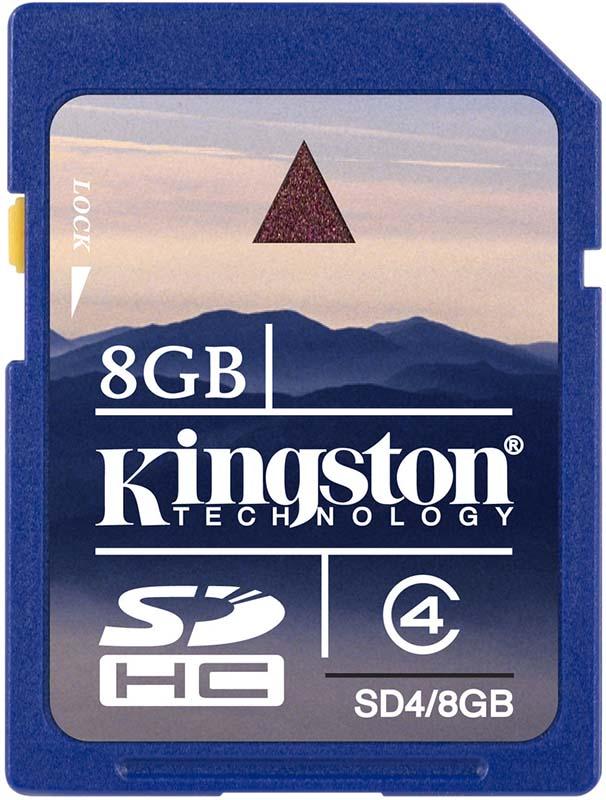 Карта памяти Kingston SDHC 8Gb Class 4 - Фото 1