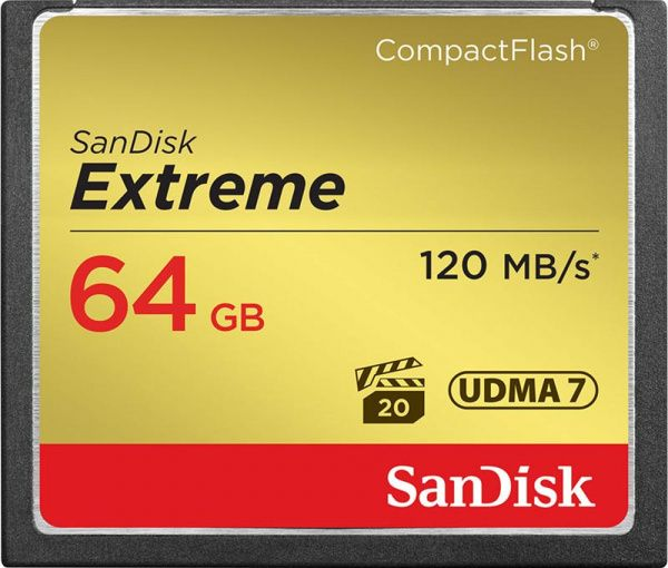 SanDisk CompactFlash Extreme R120/W85MB/s 64Gb