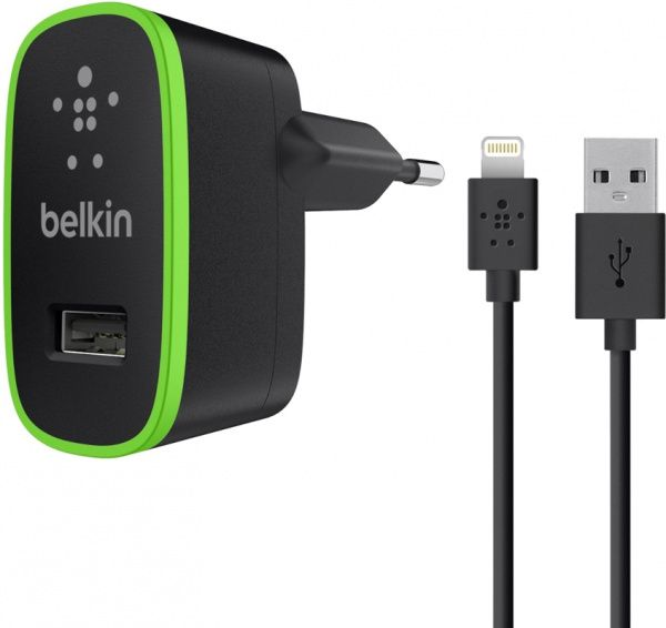 Belkin Travel charger 1USB 2.1A + Lightning cable Black - фото