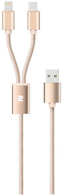Купить Кабели и переходники, Rock 2 in 1 charging cable w/version D/USBA TO lightning+micro/ 1, 2M Gold