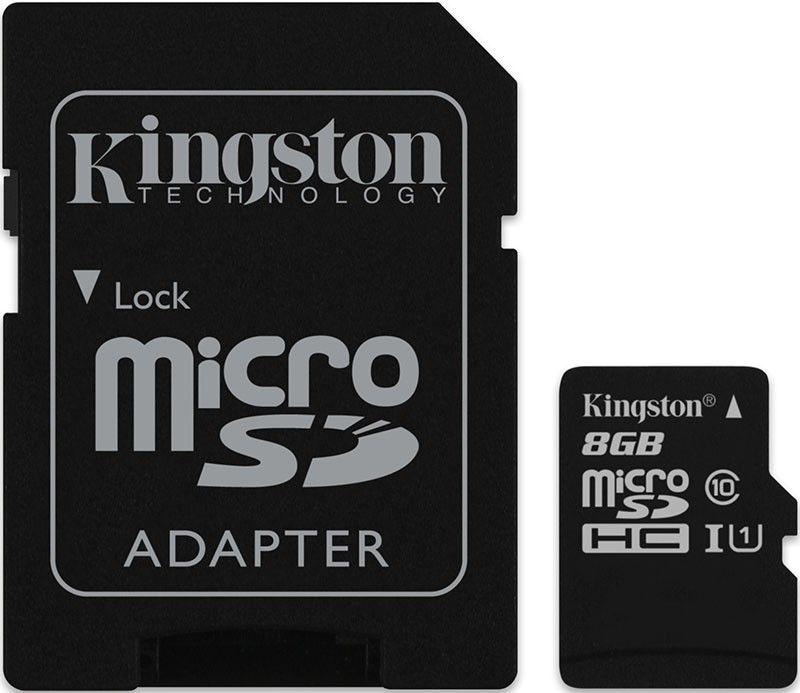Карта памяти Kingston microSDHC 8Gb class10 + SD adapter - Фото 1