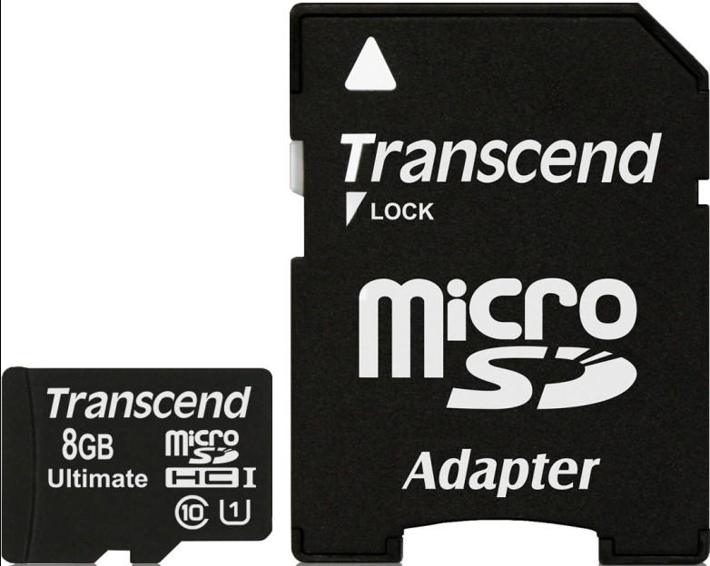 Карта памяти Transcend microSDHC 8Gb Class 10 UHS-I 600x - Фото 1