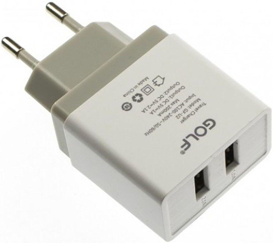 Зарядные устройства, GOLF GF-U2 Travel charger 2USB 2, 1A White  - купить со скидкой