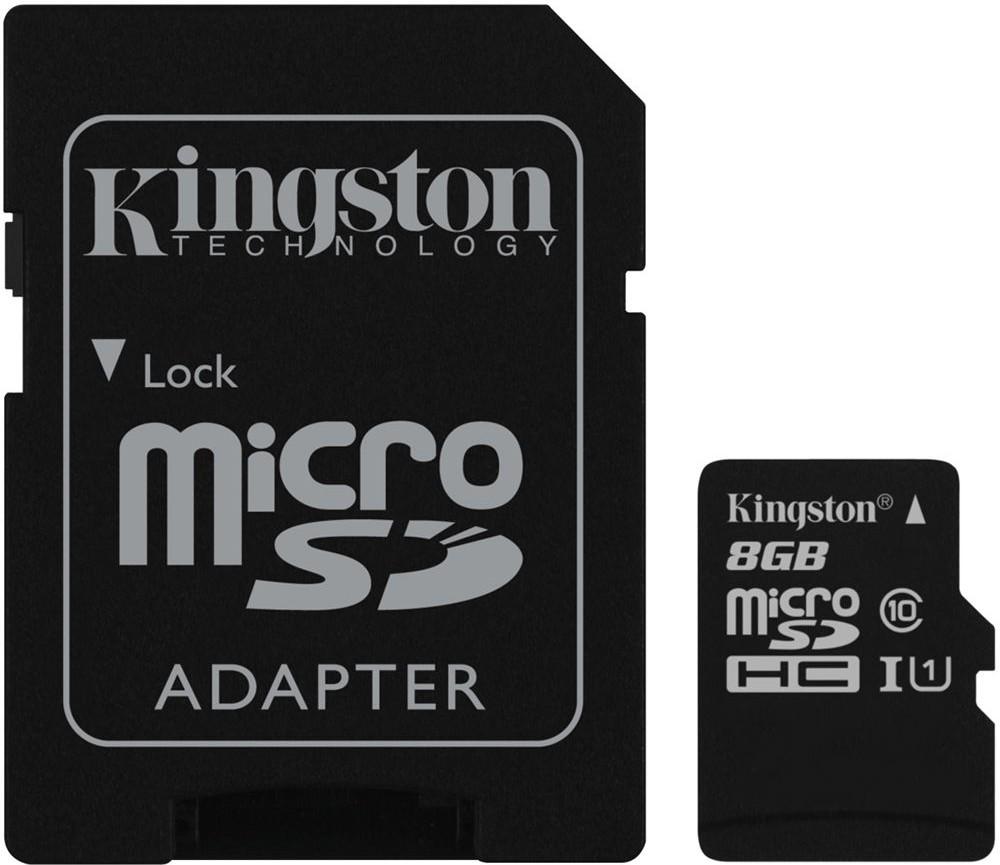 Карта памяти Kingston microSDHC/microSDXC class 10 UHS-I SD adapter 8Gb - Фото 1