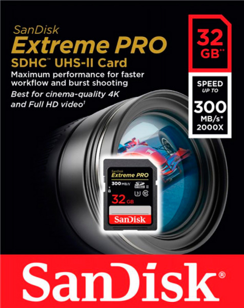 SanDisk SDHC C10 UHS-II R300/W260MB/s 4K Extreme Pro 32GB