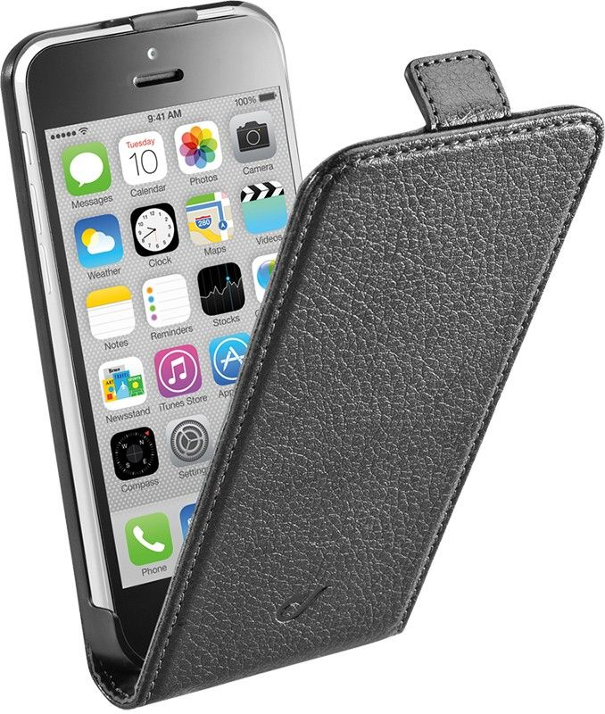 Чехол-флип Cellular Line Flap Essential для iPhone 5/5S Black - Фото 1