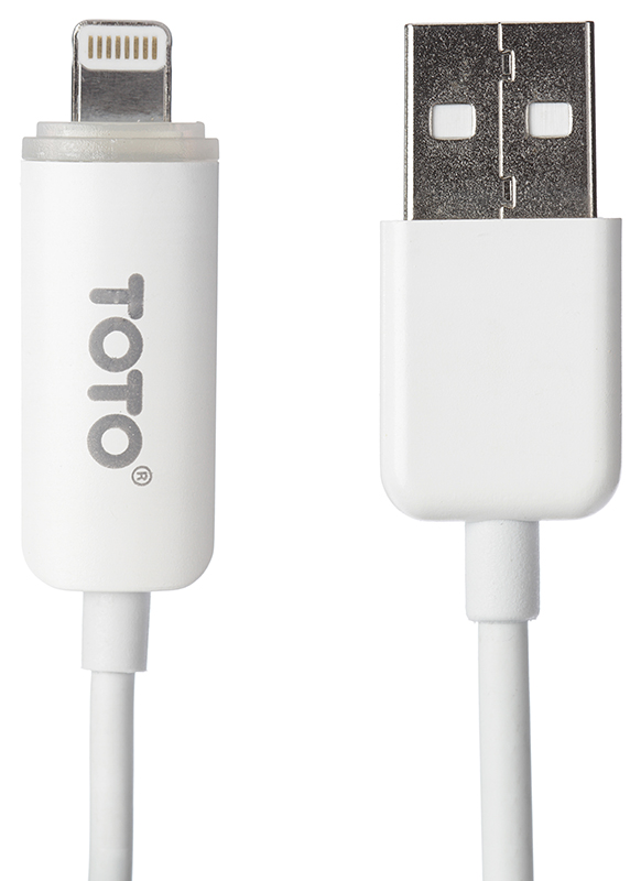 Кабель TOTO TKG-08 LED lighting USB cable Lightning 1m White - Фото 1