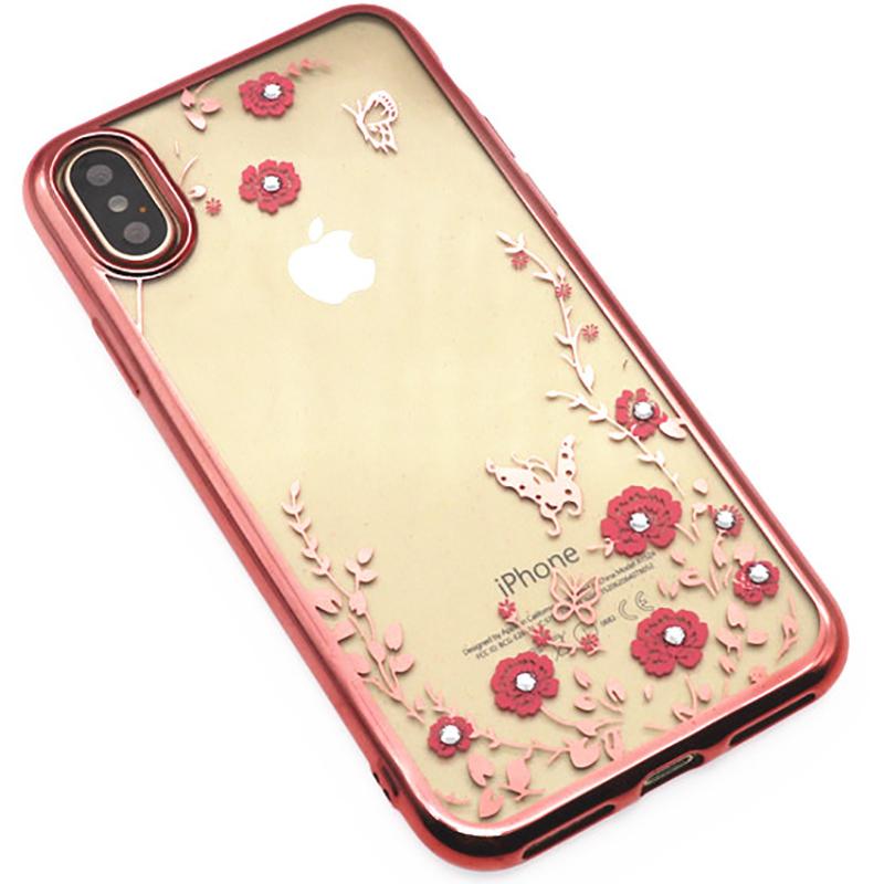 Купить Чехлы для телефонов, TOTO TPU electroplating edge with flower pattern iPhone X Rose Gold