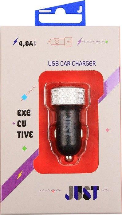 Автомобильное зарядное устройство JUST Executive Dual USB (4.8A 24W 2USB) Black - Фото 1