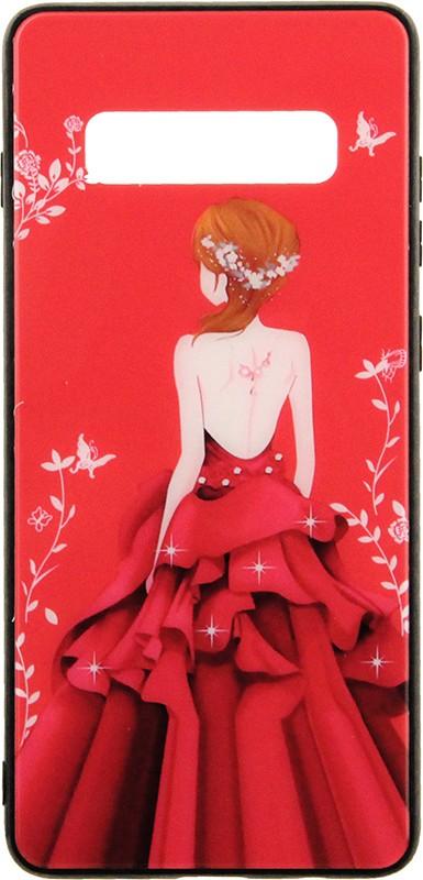 Чехлы для телефонов, TOTO Glass Fashionable Case Samsung Galaxy S10+ Red Dress Girl  - купить со скидкой