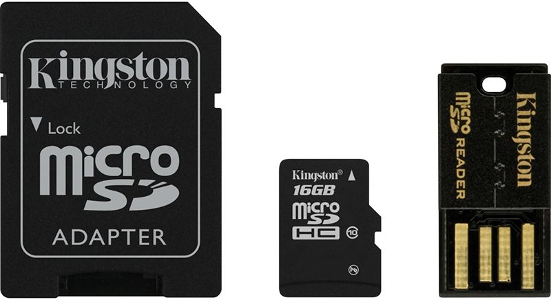 Карты памяти, Kingston microSDHC/microSDXC Class 10 UHS-I SD adapter/USB reader 16Gb  - купить со скидкой