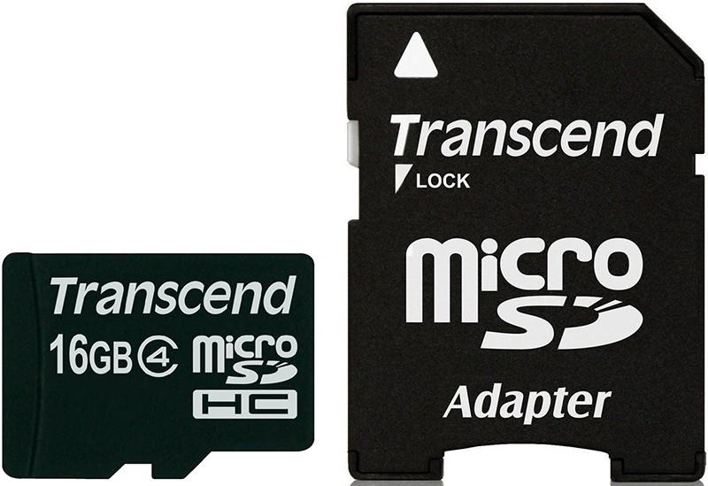 Карта памяти Transcend microSDHC class 4 SD adapter 16Gb - Фото 1
