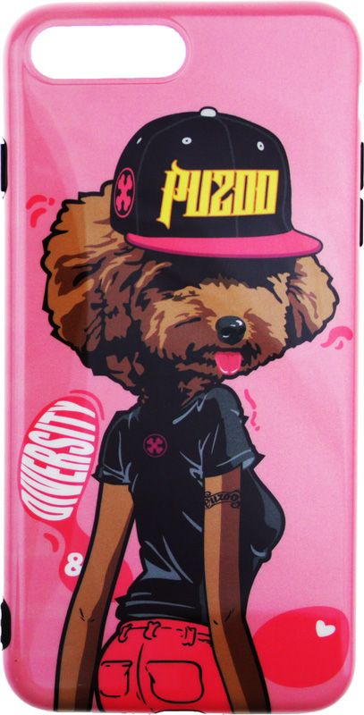 PUZOO TPU Glossy Surface IMD Hip Hop iPhone 7 Plus/8 Plus DJ Teddy Pink