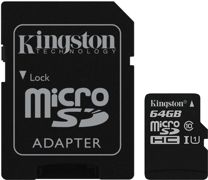 Карта памяти Kingston microSDHC/microSDXC 64Gb Class 10 UHS-I + SD Adapter - Фото 1