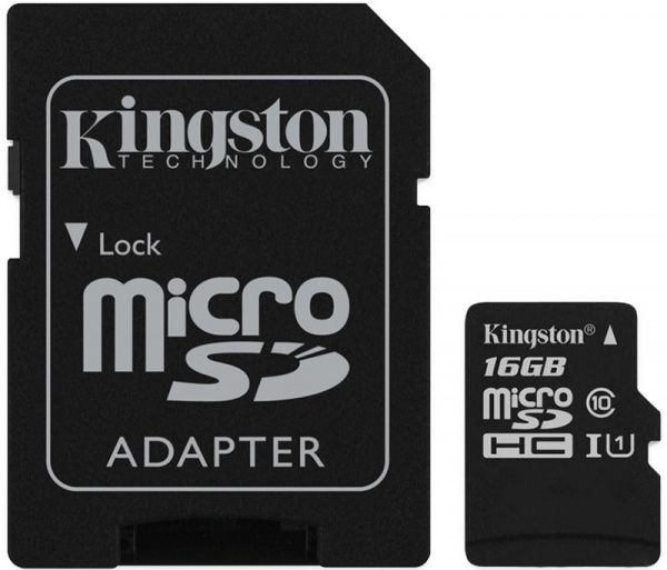 Kingston microSDHC/SDXC UHS-I Class 10 Canvas Select SD адаптер 16Gb