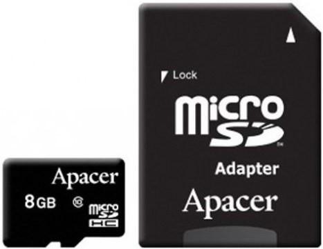 Карта памяти Apacer microSDHC 8Gb class 10 UHS-1 + SD adapter - Фото 1