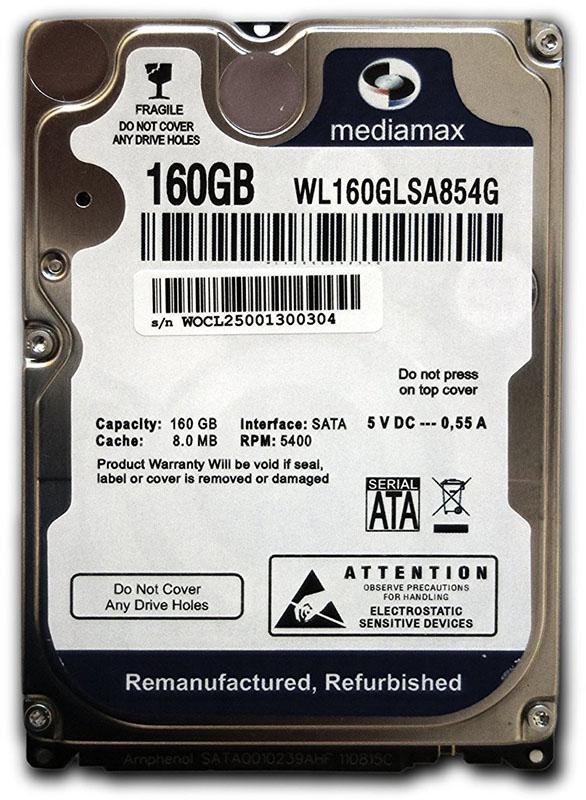 Купить Жесткие диски, Mediamax 2.5 HDD 150 GB SATA (WL160GLSA854G)