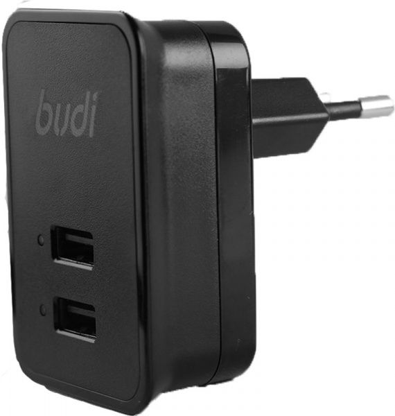 BUDI Travel charger 2USB 2.1A + Lightning cable 1.2 m Black