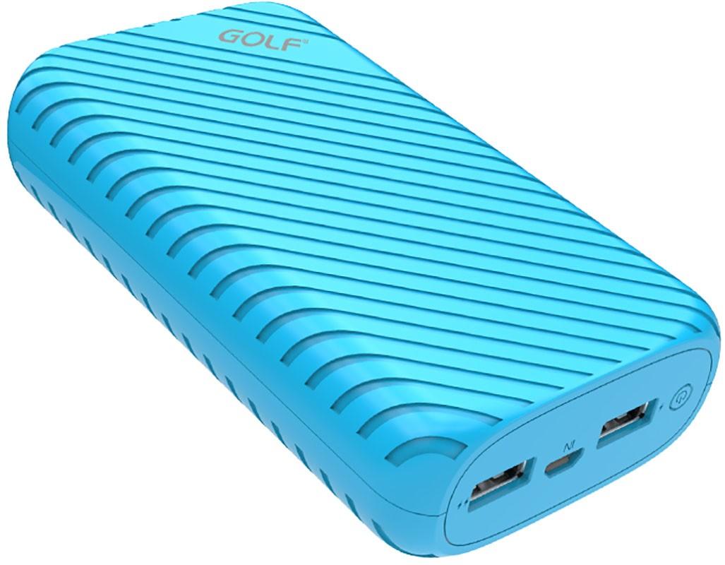 Портативная батарея GOLF Power Bank 16000 mAh G20 3.1A Li-pol Blue - Фото 1