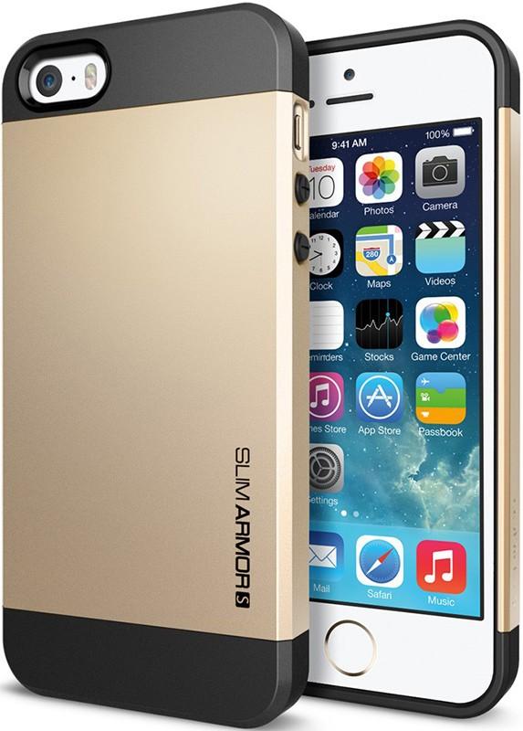 Чехол-накладка Spigen Case Slim Armor S Champagne Gold для iPhone 5/5S - Фото 1