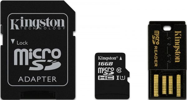 Kingston microSDHC class 4 SD adapter/USB reader 8Gb