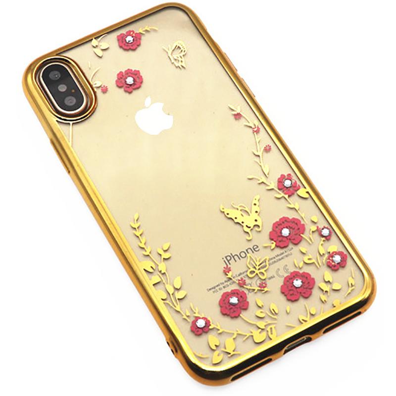 Купить Чехлы для телефонов, TOTO TPU electroplating edge with flower pattern iPhone X Gold