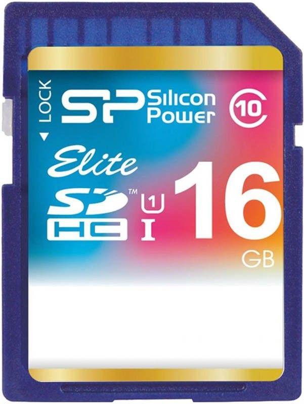 Карта памяти Silicon Power SDHC 16Gb class 10 UHS-I Elite - Фото 1