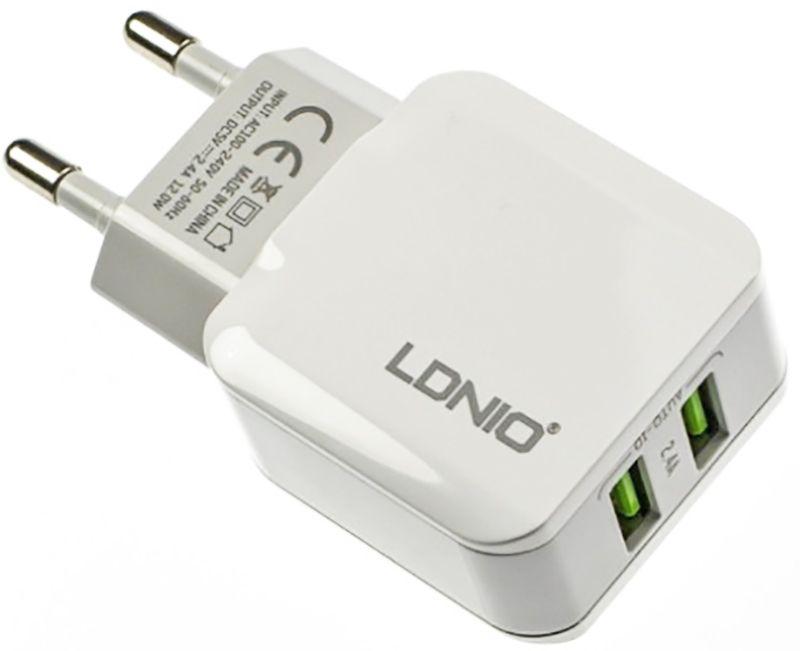 Купить Зарядные устройства, LDNIO A2202 Travel charger 2USB 2.4A White