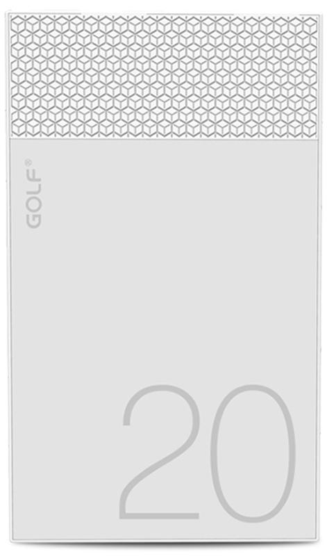 Портативная батарея GOLF Power Bank 20000 mAh Hive20 3.1A Li-pol White - Фото 1