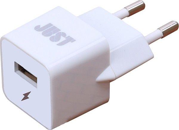 Сетевое зарядное устройстройство JUST Atom USB (1A 5W 1USB) White - Фото 1