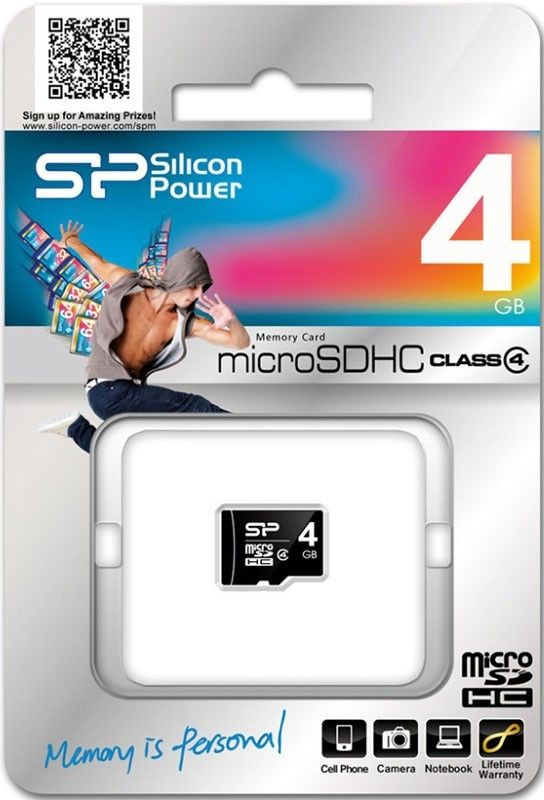 Карта памяти Silicon Power microSDHC 4Gb class 4 - Фото №2
