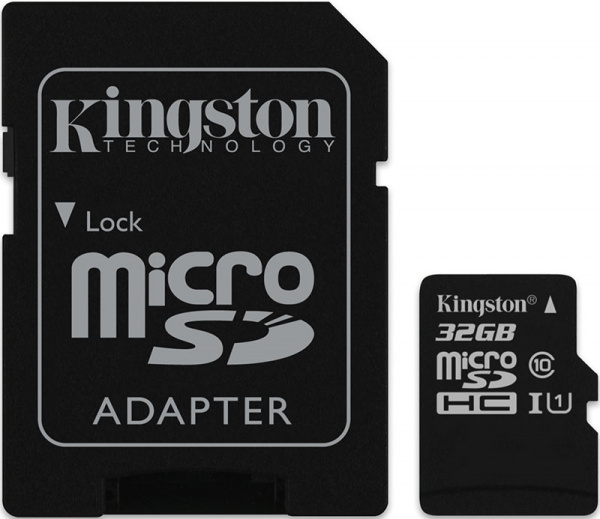 Карта памяти Kingston microSDHC 32Gb class10 UHS-1 + SD adapter - Фото 1