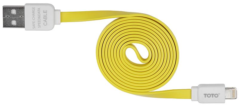 Кабель TOTO TKG-31 Flat USB cable Lightning 1m Yellow - Фото 1