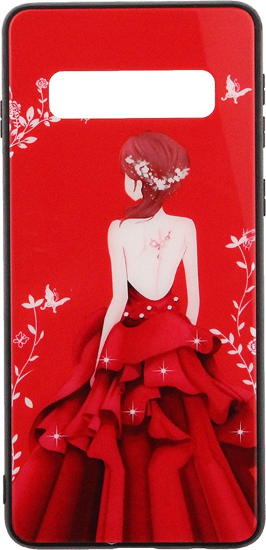 Купить Чехлы для телефонов, TOTO Glass Fashionable Case Samsung Galaxy S10 Red Dress Girl