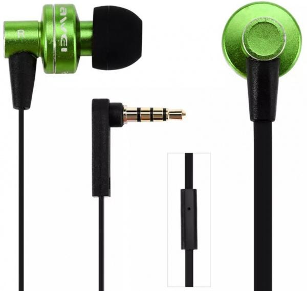 AWEI ES900i Wired Earphones Green - фото