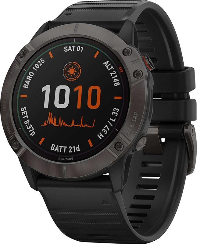 Купить Смарт-часы, Garmin Fenix 6X Pro Solar Titanium Carbon Grey DLC with Black Band (010-02157-21/20)