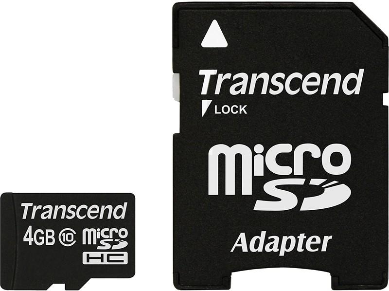 Карта памяти Transcend microSDXC/SDHC Class 10 SD adapter 4Gb - Фото 1