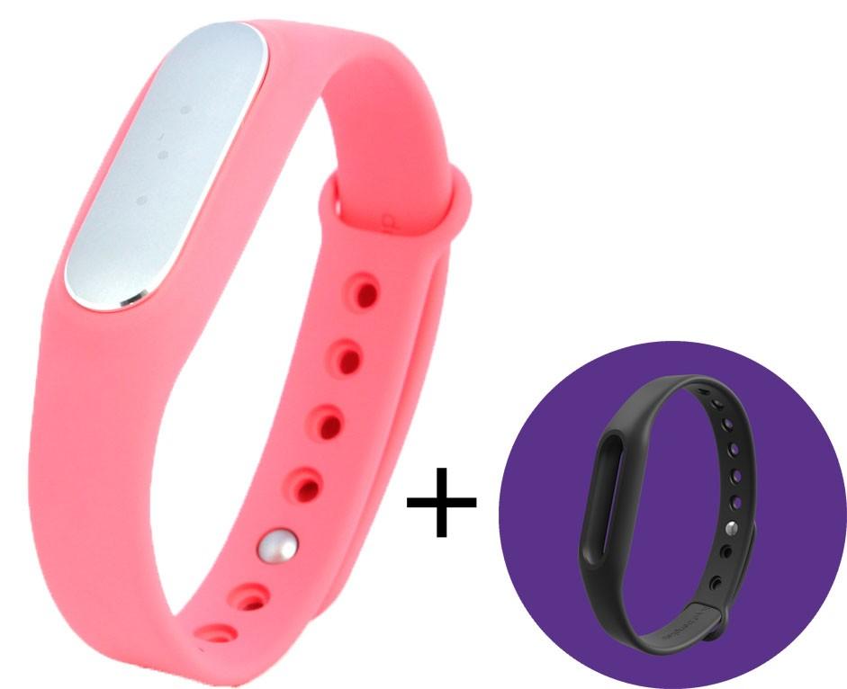 Фитнес-браслет Xiaomi Mi Band 1S Pulse Pink + черный ремешок в подарок - Фото 1